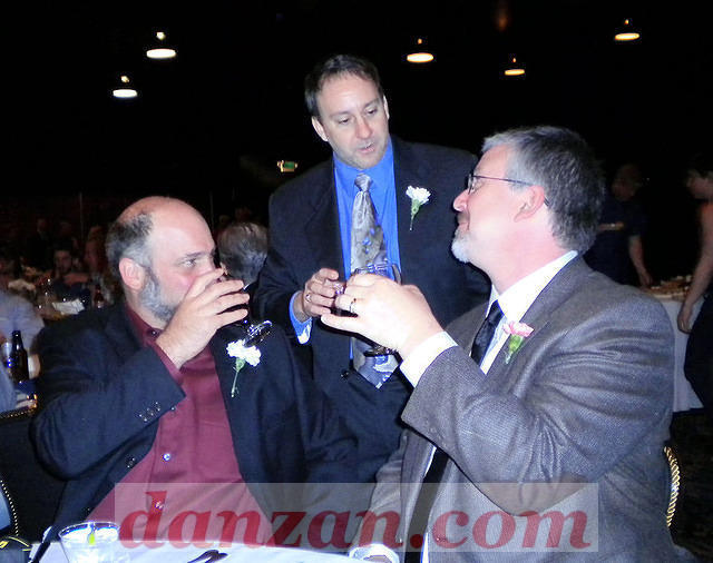 Senseis Justin Kocher, Pete St. Pierre and Ed Shatzen at the convention banquet